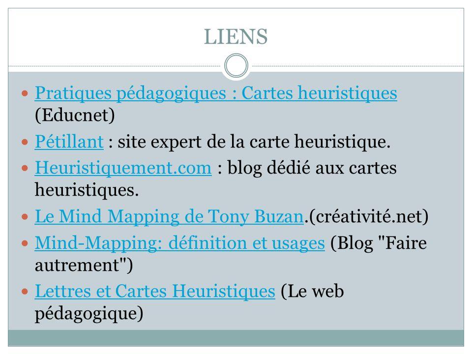LIENS Pratiques pédagogiques : Cartes heuristiques (Educnet) Pratiques pédagogiques : Cartes heuristiques Pétillant : site expert de la carte heuristi