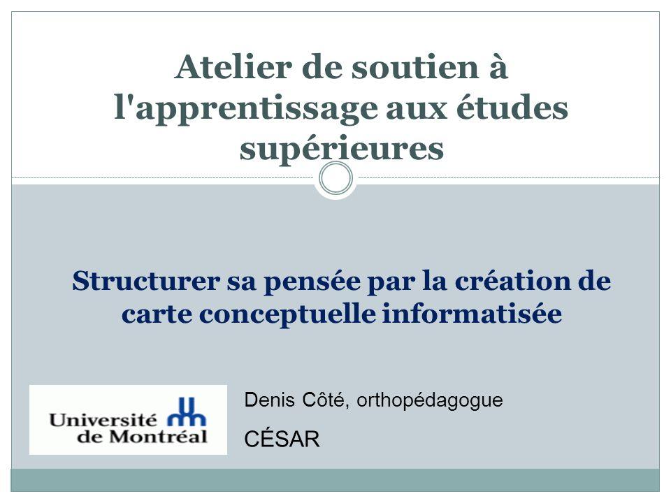 Atelier de soutien à l'apprentissage aux études supérieures Structurer sa pensée par la création de carte conceptuelle informatisée Denis Côté, orthop