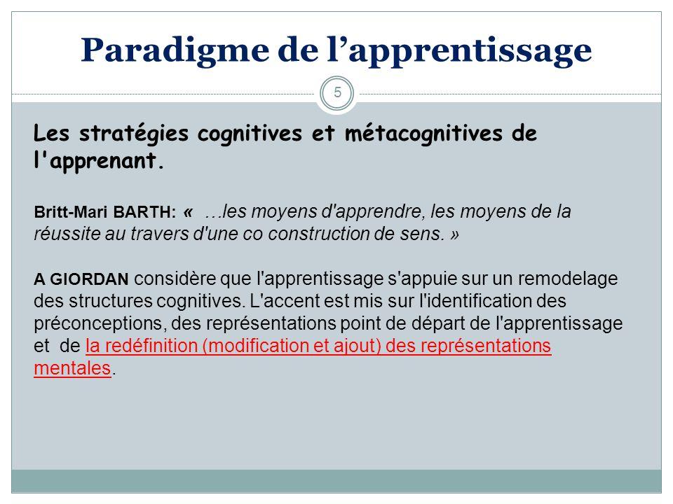 5 Les stratégies cognitives et métacognitives de l'apprenant. Britt-Mari BARTH: « …les moyens d'apprendre, les moyens de la réussite au travers d'une