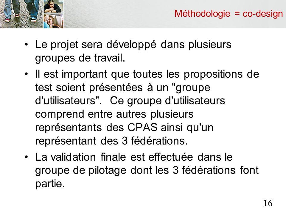 Méthodologie = co-design Le projet sera développé dans plusieurs groupes de travail.