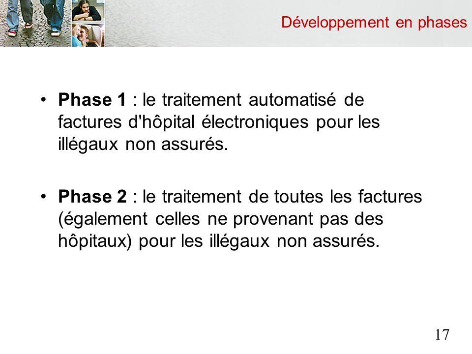 Développement en phases Phase 1 : le traitement automatisé de factures d hôpital électroniques pour les illégaux non assurés.