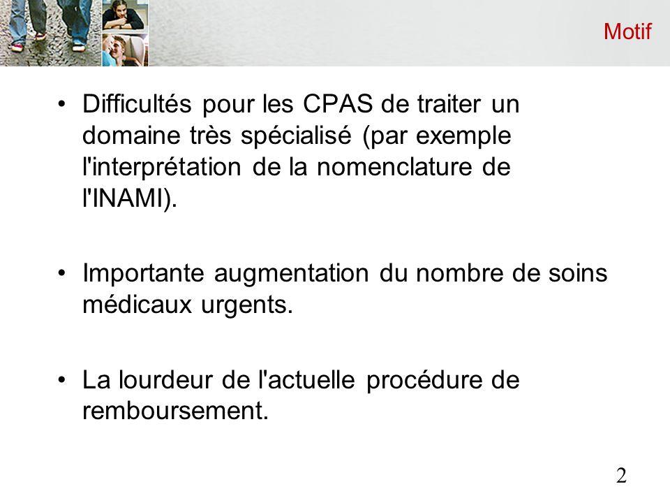 Motif Difficultés pour les CPAS de traiter un domaine très spécialisé (par exemple l interprétation de la nomenclature de l INAMI).