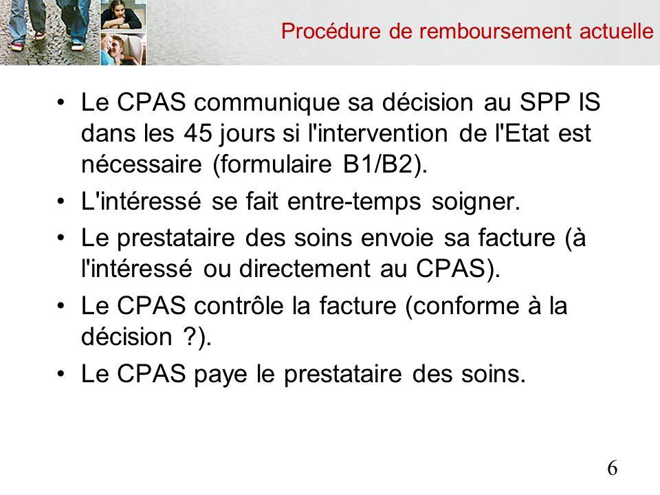 Procédure de remboursement actuelle Le CPAS demande au SPP IS le remboursement de la partie à charge de l Etat (formulaire D1/D2).