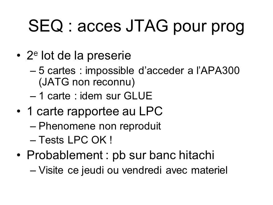 SEQ : acces JTAG pour prog 2 e lot de la preserie –5 cartes : impossible dacceder a lAPA300 (JATG non reconnu) –1 carte : idem sur GLUE 1 carte rapportee au LPC –Phenomene non reproduit –Tests LPC OK .