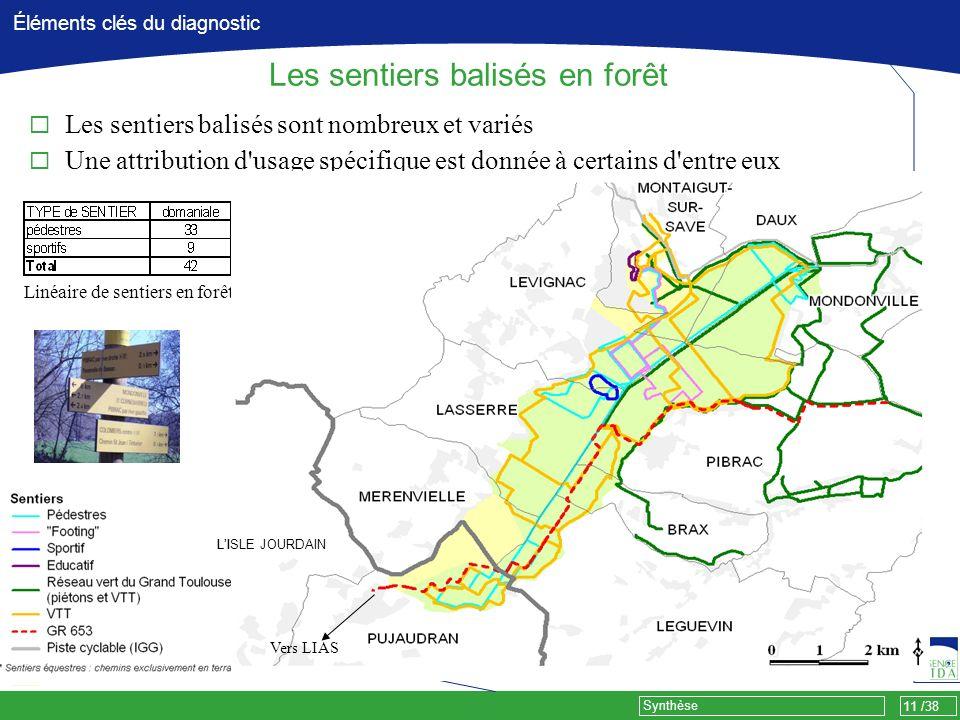 11 /38 Synthèse Éléments clés du diagnostic Les sentiers balisés en forêt Linéaire de sentiers en forêt (km) Les sentiers balisés sont nombreux et var