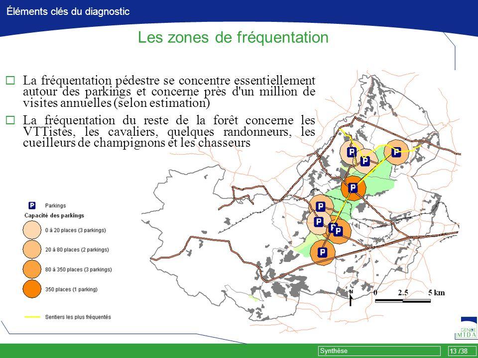 13 /38 Synthèse Éléments clés du diagnostic Les zones de fréquentation La fréquentation pédestre se concentre essentiellement autour des parkings et c