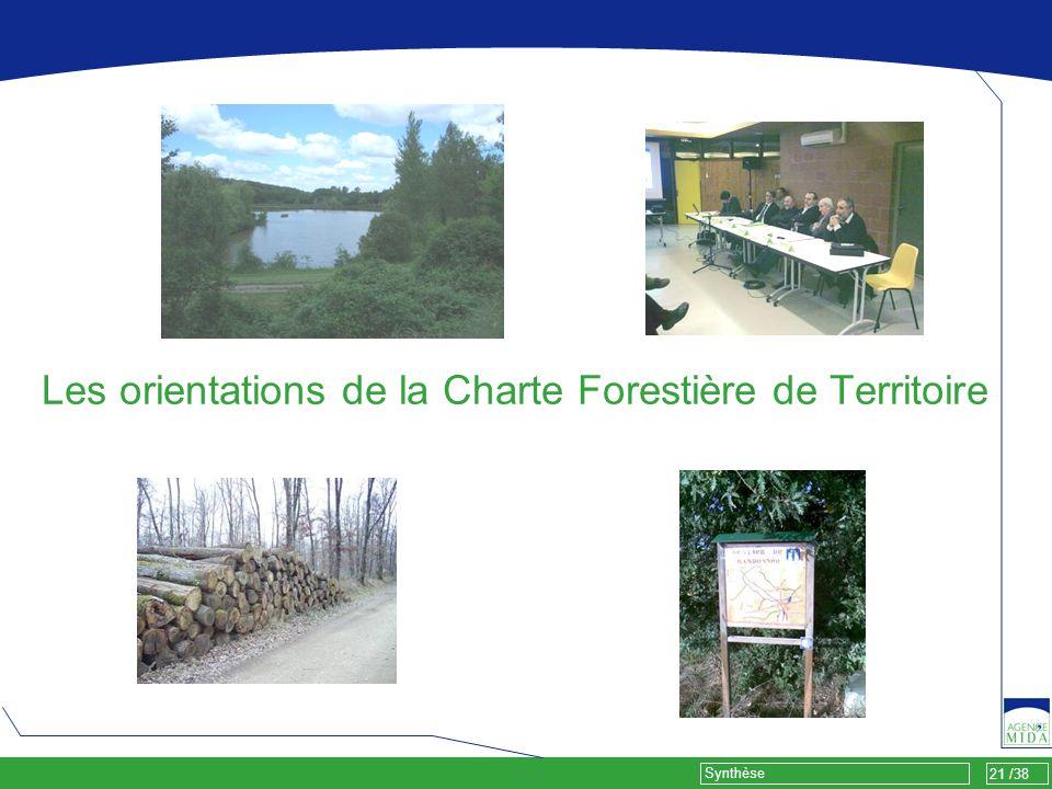 21 /38 Synthèse Les orientations de la Charte Forestière de Territoire