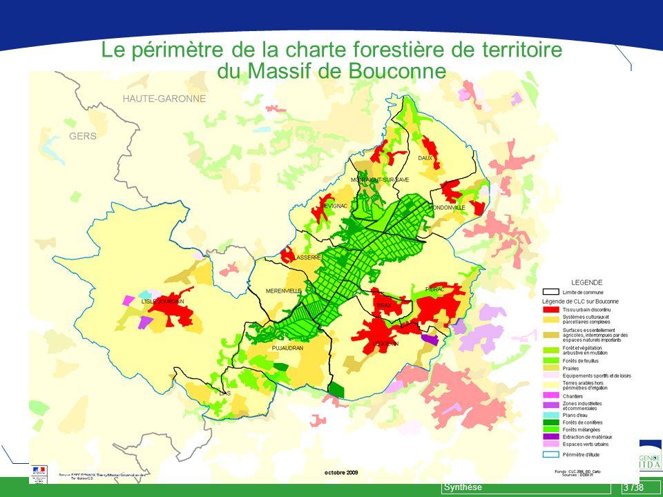 34 /38 Synthèse Résultats des groupes de travail Mesures : Créer lidentité notamment touristique du territoire forestier de Bouconne.