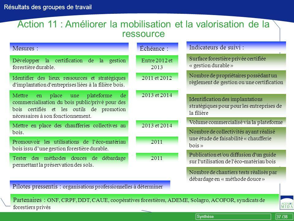37 /38 Synthèse Résultats des groupes de travail Mesures : Développer la certification de la gestion forestière durable. Pilotes pressentis : organisa