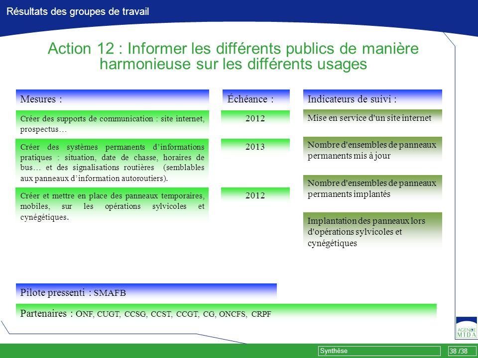 38 /38 Synthèse Résultats des groupes de travail Mesures : Créer des supports de communication : site internet, prospectus… Pilote pressenti : SMAFB P