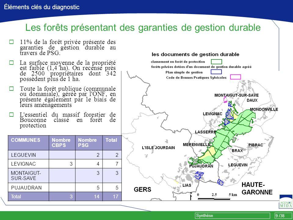 9 /38 Synthèse Éléments clés du diagnostic Les forêts présentant des garanties de gestion durable 11% de la forêt privée présente des garanties de ges