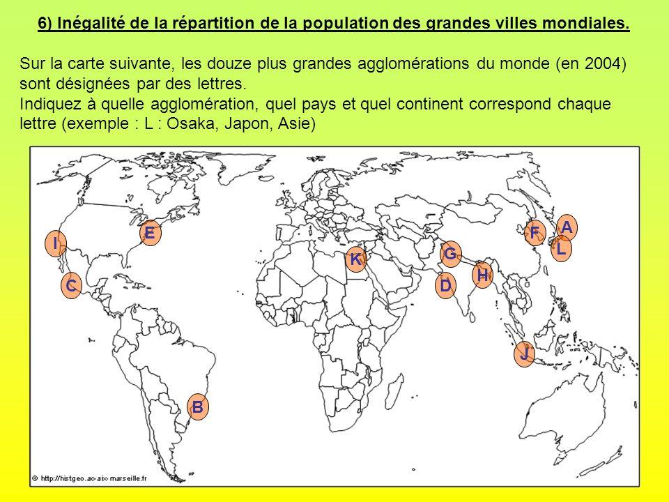 6) Inégalité de la répartition de la population des grandes villes mondiales. Sur la carte suivante, les douze plus grandes agglomérations du monde (e