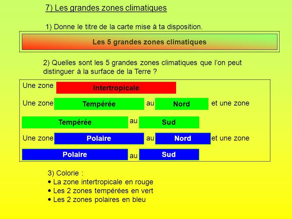 7) Les grandes zones climatiques 1) Donne le titre de la carte mise à ta disposition. 2) Quelles sont les 5 grandes zones climatiques que lon peut dis