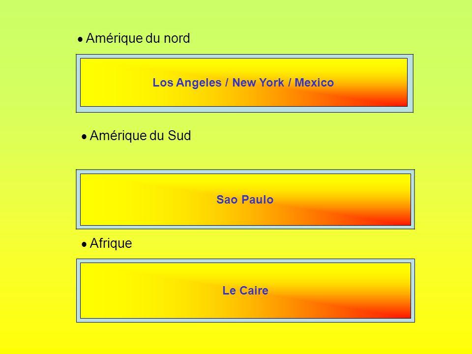 Amérique du nord Amérique du Sud Afrique Los Angeles / New York / Mexico Sao Paulo Le Caire