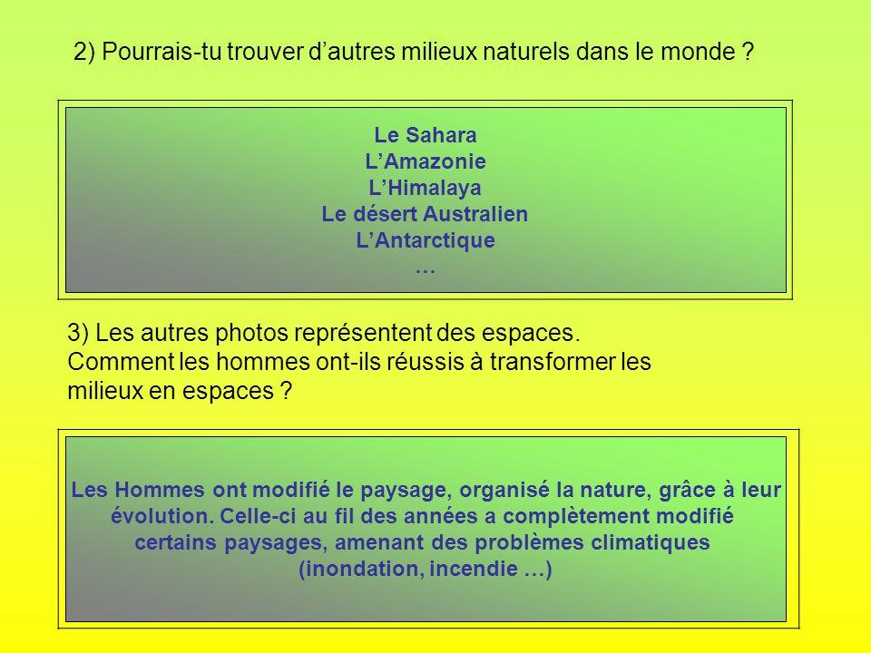 2) Pourrais-tu trouver dautres milieux naturels dans le monde ? 3) Les autres photos représentent des espaces. Comment les hommes ont-ils réussis à tr