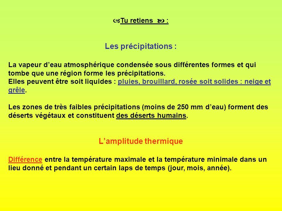 Tu retiens : Les précipitations : La vapeur deau atmosphérique condensée sous différentes formes et qui tombe que une région forme les précipitations.