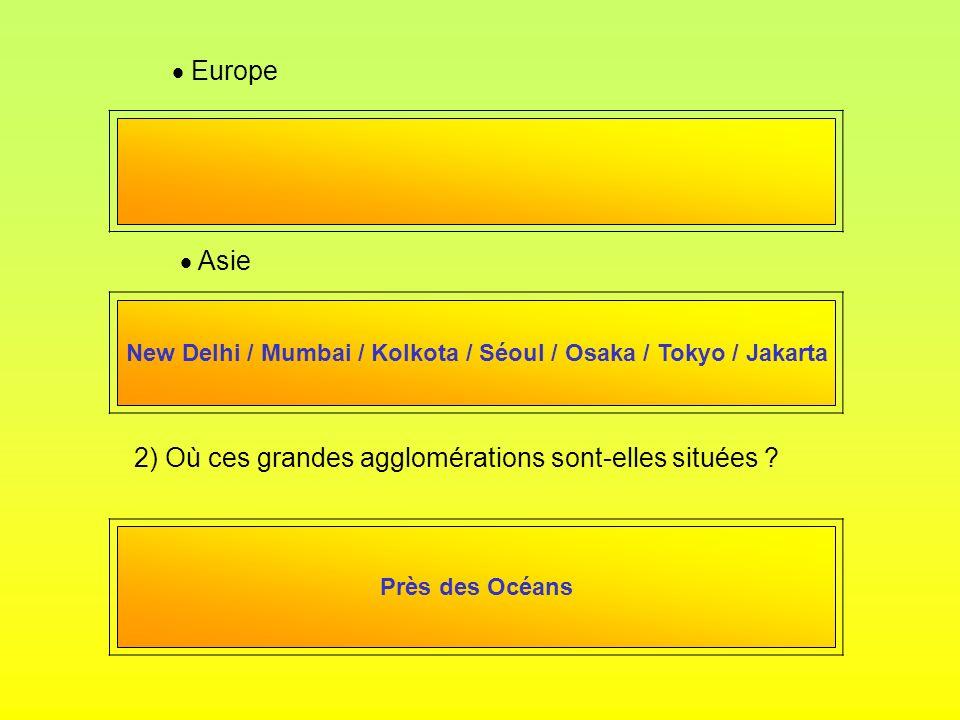 Europe Asie 2) Où ces grandes agglomérations sont-elles situées ? New Delhi / Mumbai / Kolkota / Séoul / Osaka / Tokyo / Jakarta Près des Océans