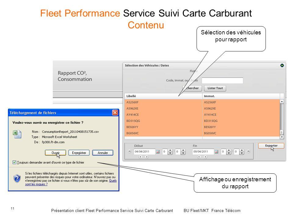 11 Fleet Performance Service Suivi Carte Carburant Contenu Sélection des véhicules pour rapport Affichage ou enregistrement du rapport Présentation cl