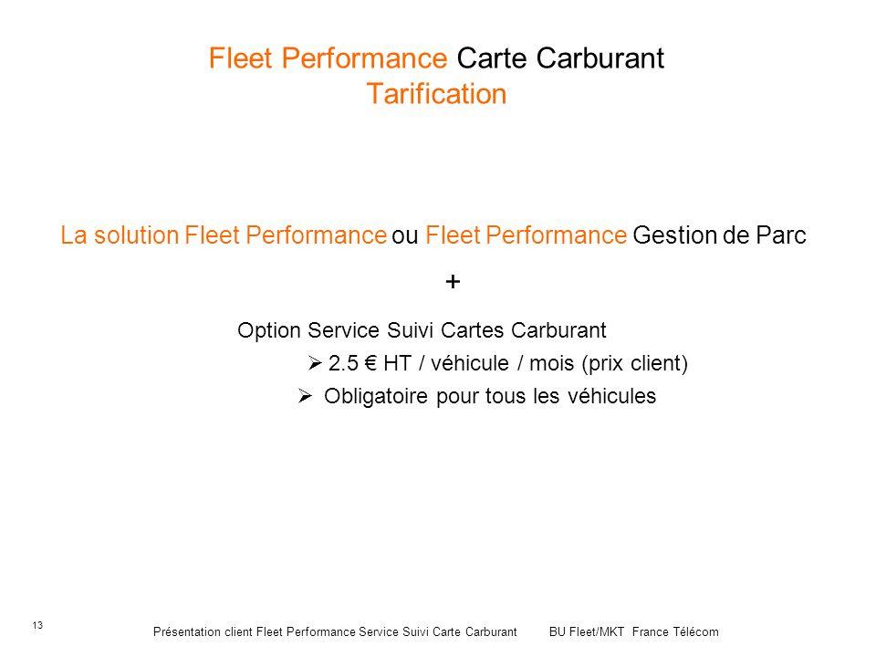 13 Fleet Performance Carte Carburant Tarification La solution Fleet Performance ou Fleet Performance Gestion de Parc + Option Service Suivi Cartes Car