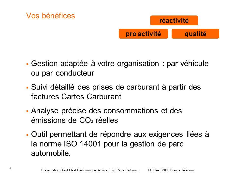 4 Vos bénéfices Gestion adaptée à votre organisation : par véhicule ou par conducteur Suivi détaillé des prises de carburant à partir des factures Car