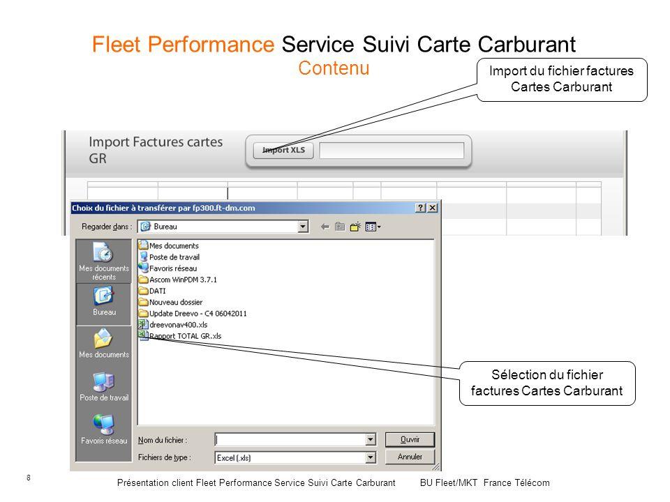 8 Fleet Performance Service Suivi Carte Carburant Contenu Import du fichier factures Cartes Carburant Sélection du fichier factures Cartes Carburant P