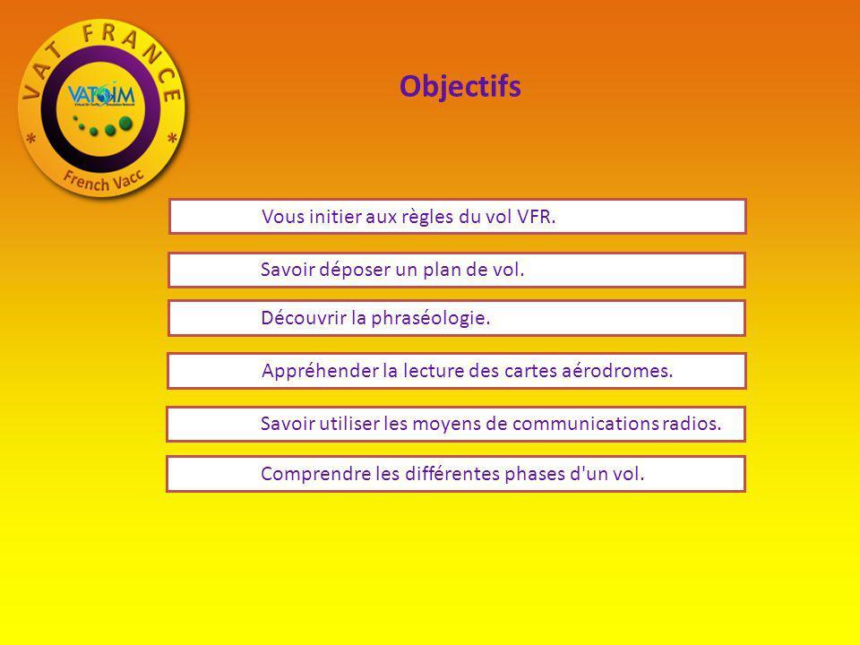Objectifs Vous initier aux règles du vol VFR. Appréhender la lecture des cartes aérodromes. Savoir utiliser les moyens de communications radios. Compr