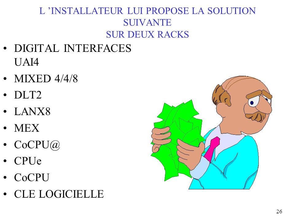 26 L INSTALLATEUR LUI PROPOSE LA SOLUTION SUIVANTE SUR DEUX RACKS DIGITAL INTERFACES UAI4 MIXED 4/4/8 DLT2 LANX8 MEX CoCPU@ CPUe CoCPU CLE LOGICIELLE