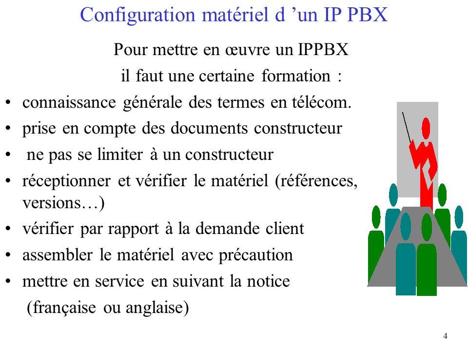 4 Configuration matériel d un IP PBX Pour mettre en œuvre un IPPBX il faut une certaine formation : connaissance générale des termes en télécom. prise