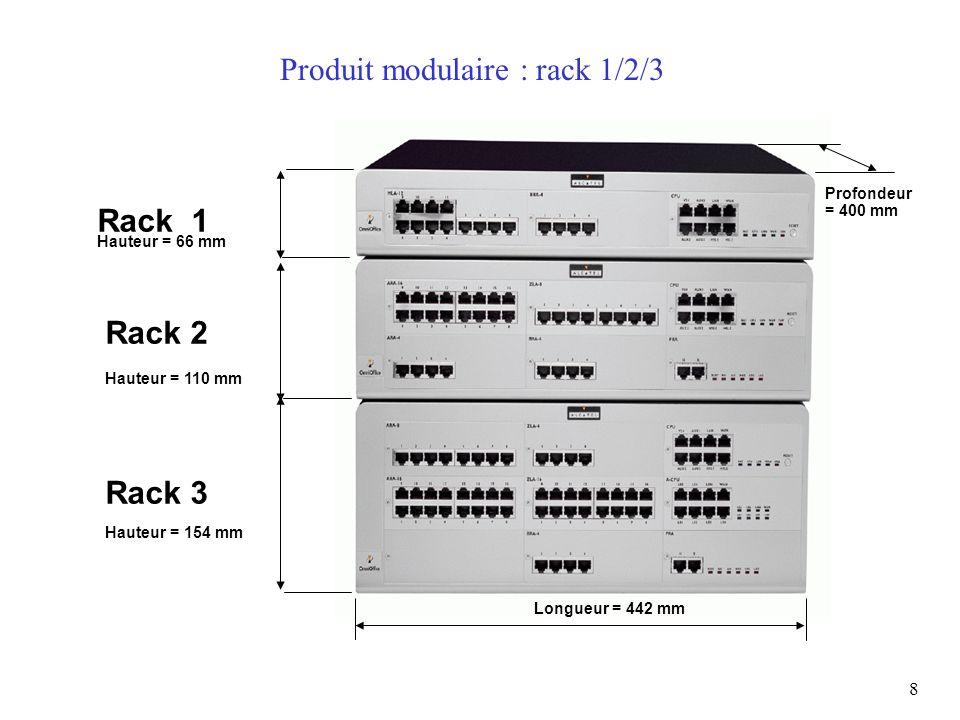 8 Produit modulaire : rack 1/2/3 Hauteur = 66 mm Rack 1 Hauteur = 110 mm Rack 2 Hauteur = 154 mm Rack 3 Longueur = 442 mm Profondeur = 400 mm