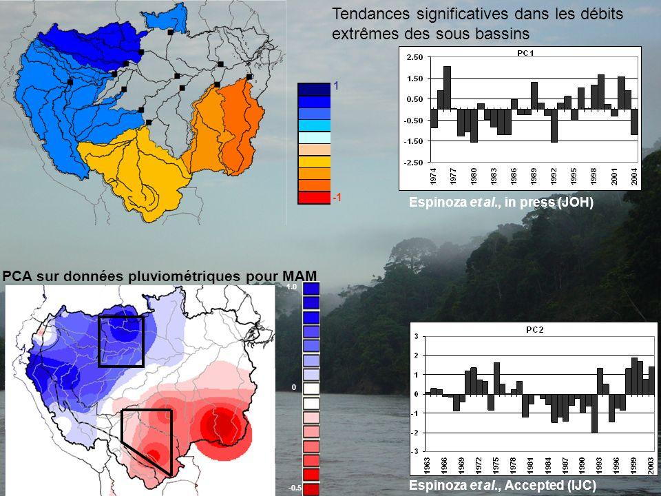 Tendances significatives dans les débits extrêmes des sous bassins Espinoza et al., in press (JOH) -0.5 0 1.0 Espinoza et al., Accepted (IJC) PCA sur
