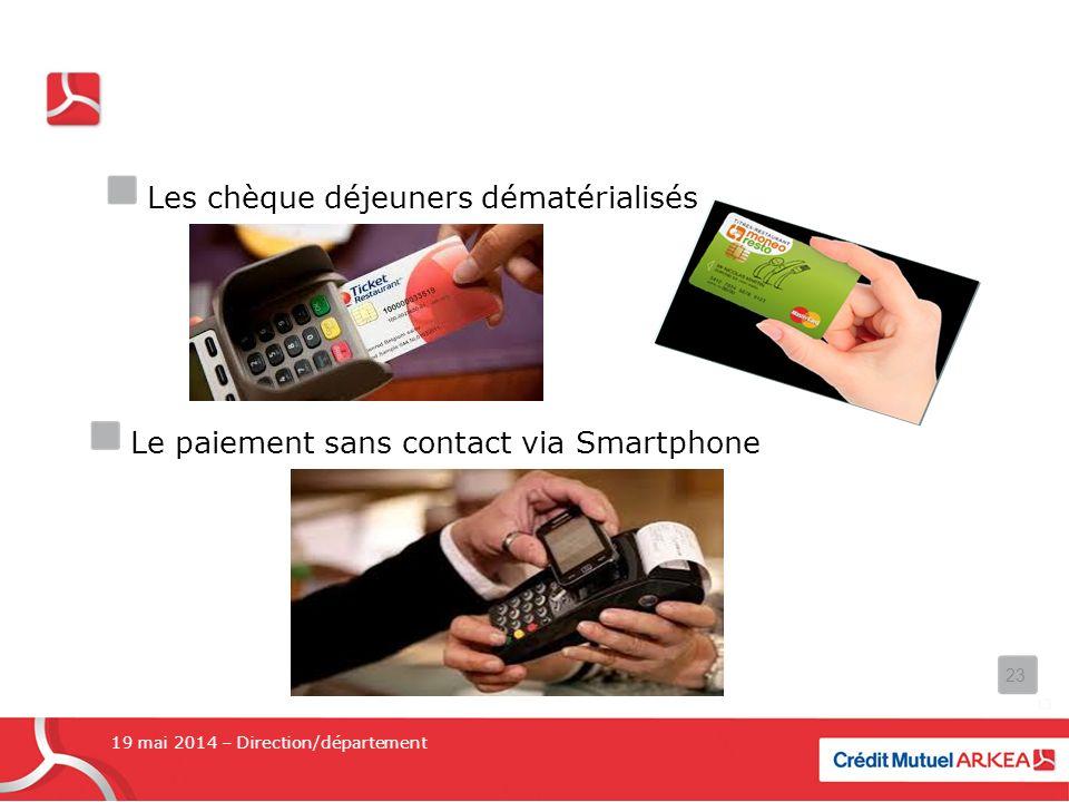 Les chèque déjeuners dématérialisés Le paiement sans contact via Smartphone 19 mai 2014 – Direction/département 23