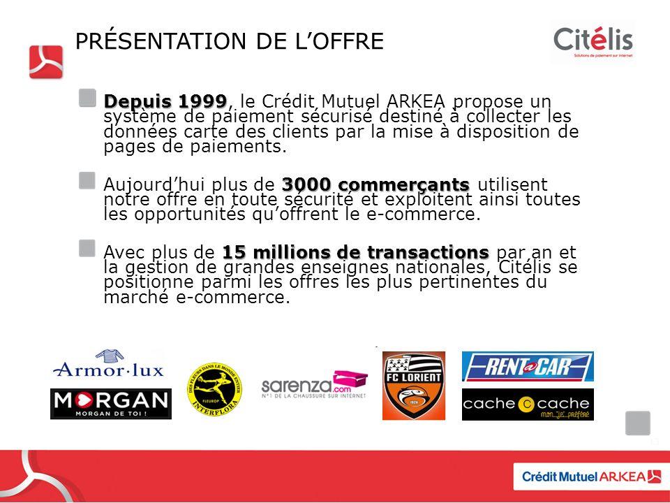 PRÉSENTATION DE LOFFRE Depuis 1999 Depuis 1999, le Crédit Mutuel ARKEA propose un système de paiement sécurisé destiné à collecter les données carte des clients par la mise à disposition de pages de paiements.