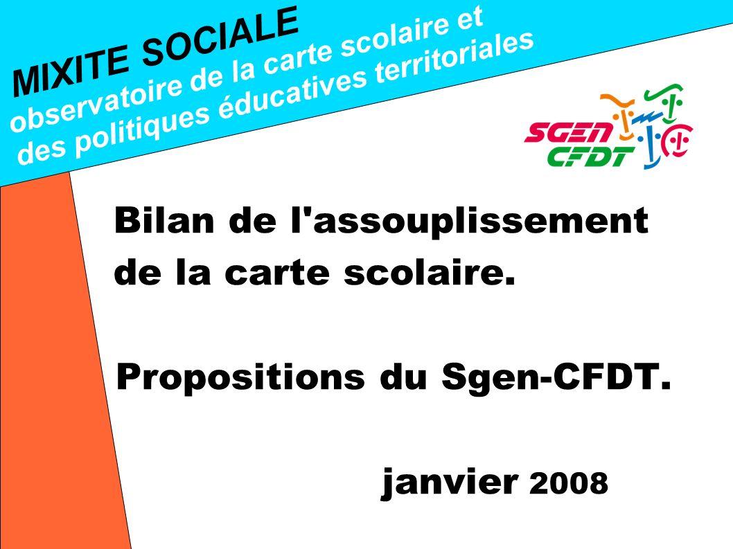 MIXITE SOCIALE observatoire de la carte scolaire et des politiques éducatives territoriales Bilan de l assouplissement de la carte scolaire.