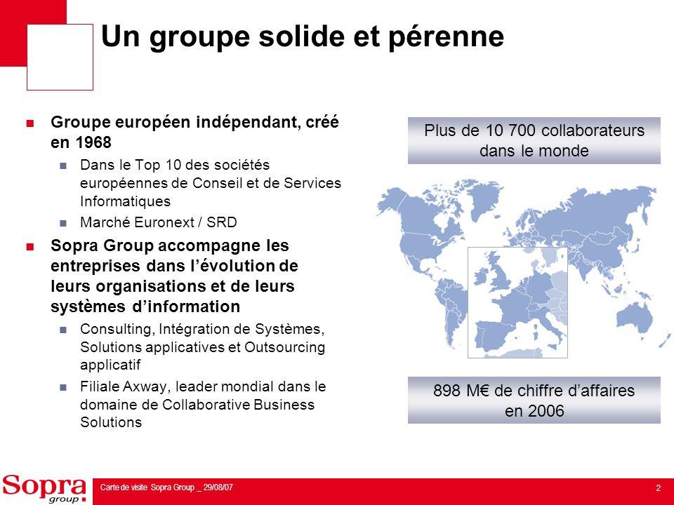 3 Carte de visite Sopra Group _ 29/08/07 Chiffre daffaires (M) Année 2006 : + 19 % Résultat op.