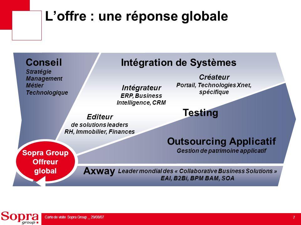 8 Carte de visite Sopra Group _ 29/08/07 Conseil sous toutes ses formes Stratégie & Management Architecture Technologies ERP (Oracle, SAP), Xnet (portails, e-commerce…) CRM, Décisionnel Métier Avec une approche à la fois verticale et géographique Consulting 11% du CA Groupe au 30 juin 2007