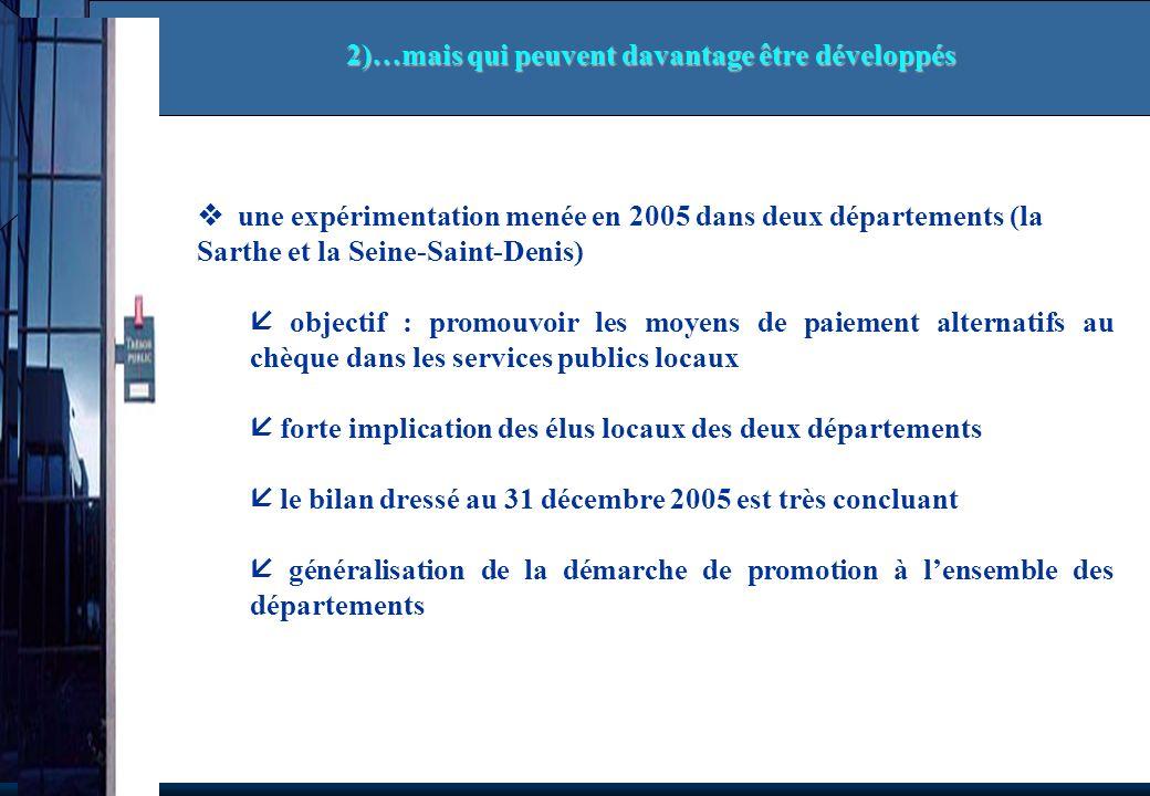 une expérimentation menée en 2005 dans deux départements (la Sarthe et la Seine-Saint-Denis) objectif : promouvoir les moyens de paiement alternatifs
