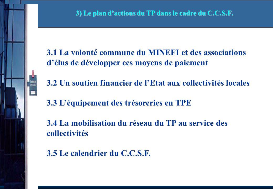 3.1 La volonté commune du MINEFI et des associations délus de développer ces moyens de paiement 3.2 Un soutien financier de lEtat aux collectivités locales 3.3 Léquipement des trésoreries en TPE 3.4 La mobilisation du réseau du TP au service des collectivités 3.5 Le calendrier du C.C.S.F.