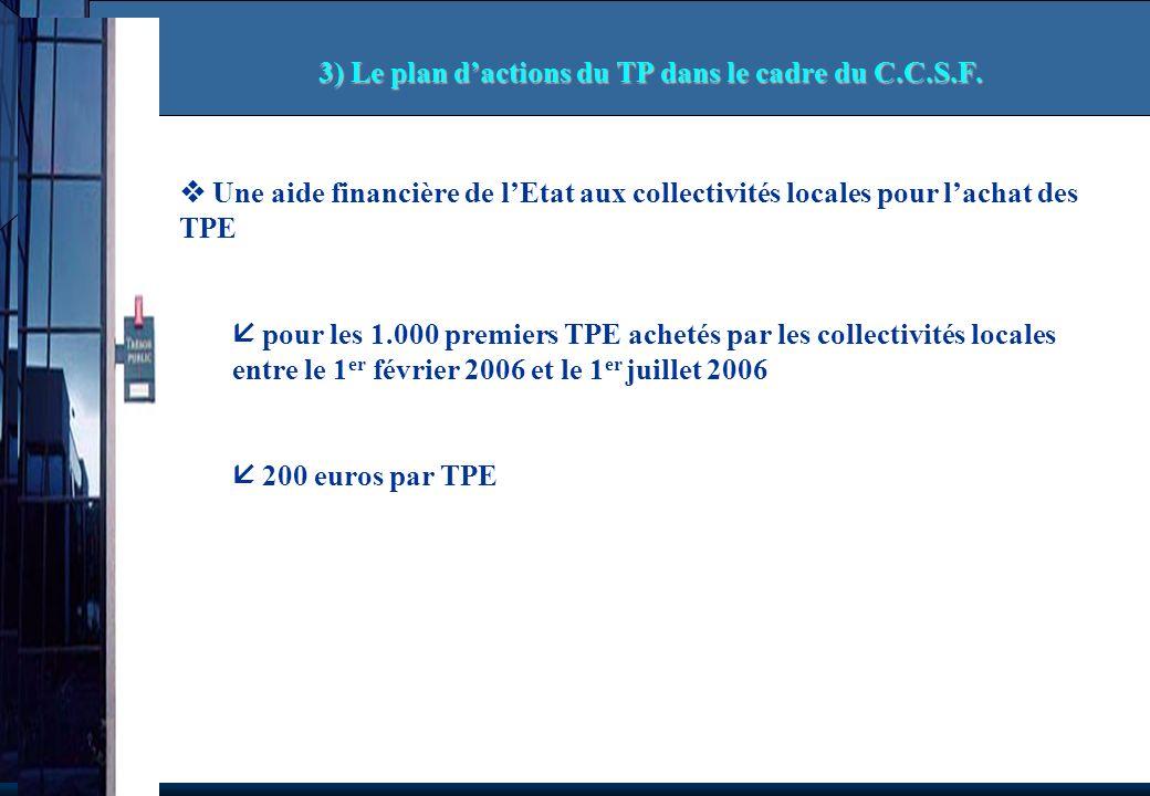 Une aide financière de lEtat aux collectivités locales pour lachat des TPE pour les 1.000 premiers TPE achetés par les collectivités locales entre le 1 er février 2006 et le 1 er juillet 2006 200 euros par TPE 3) Le plan dactions du TP dans le cadre du C.C.S.F.