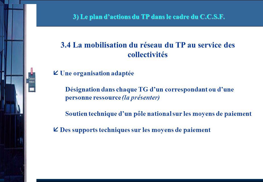 3.4 La mobilisation du réseau du TP au service des collectivités Une organisation adaptée Désignation dans chaque TG dun correspondant ou dune personn
