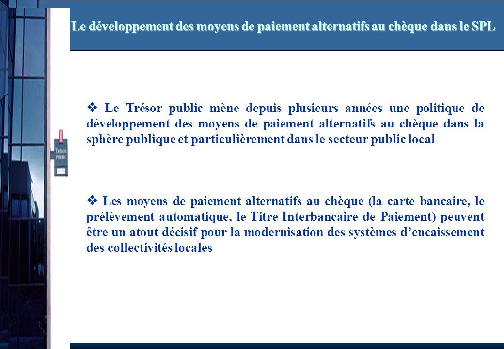 Le Trésor public mène depuis plusieurs années une politique de développement des moyens de paiement alternatifs au chèque dans la sphère publique et p