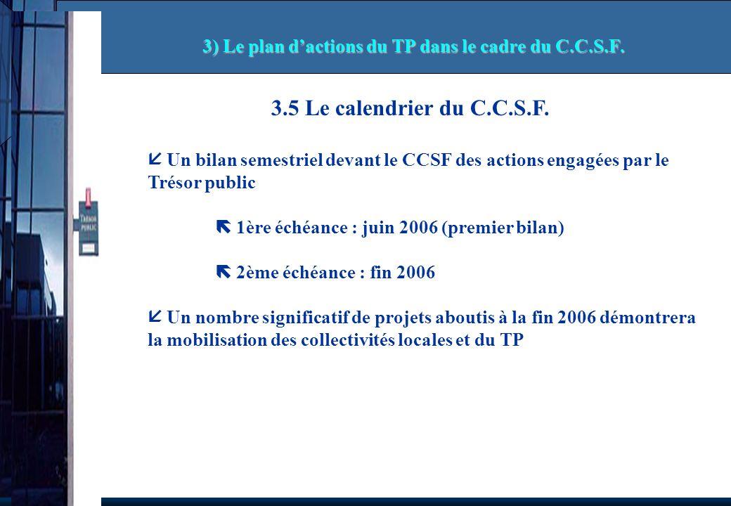 3.5 Le calendrier du C.C.S.F. Un bilan semestriel devant le CCSF des actions engagées par le Trésor public 1ère échéance : juin 2006 (premier bilan) 2