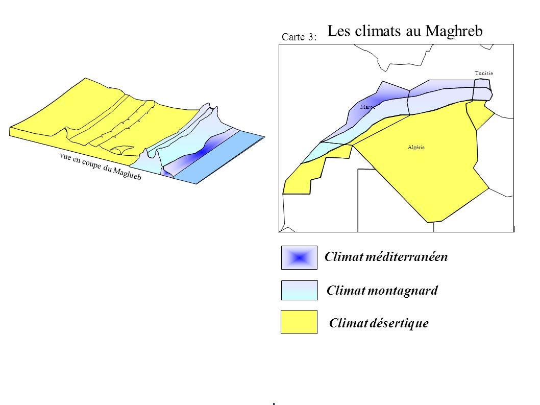 Carte 3: Algérie Maroc Tunisie Climat méditerranéen Climat montagnard Climat désertique vue en coupe du Maghreb Les climats au Maghreb