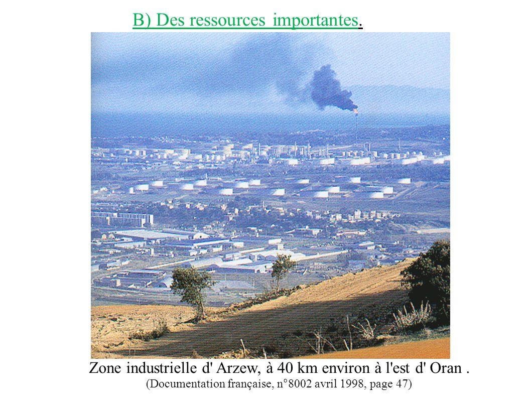 Zone industrielle d' Arzew, à 40 km environ à l'est d' Oran. (Documentation française, n°8002 avril 1998, page 47) B) Des ressources importantes.