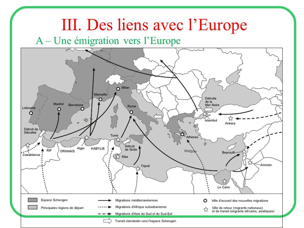 III. Des liens avec lEurope A – Une émigration vers lEurope