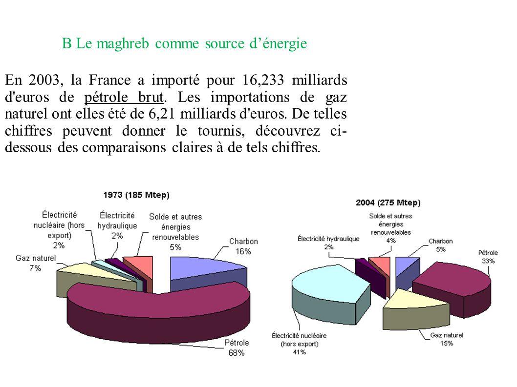 B Le maghreb comme source dénergie En 2003, la France a importé pour 16,233 milliards d'euros de pétrole brut. Les importations de gaz naturel ont ell