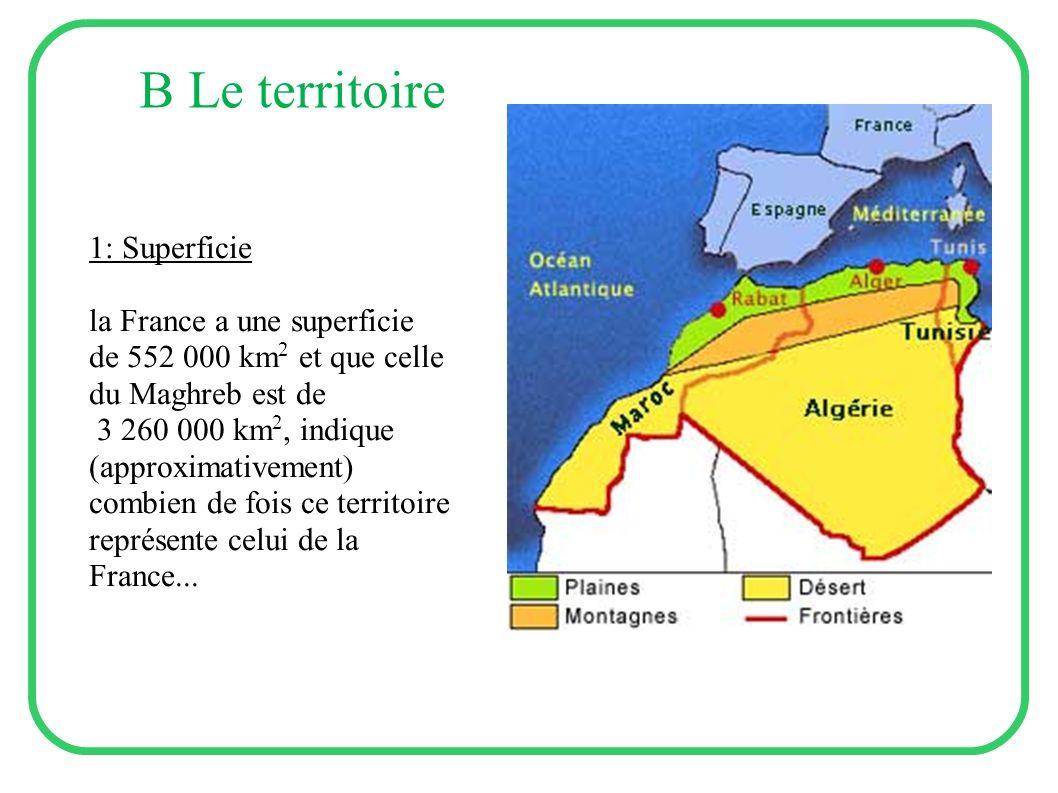 B Le territoire 1: Superficie la France a une superficie de 552 000 km 2 et que celle du Maghreb est de 3 260 000 km 2, indique (approximativement) co