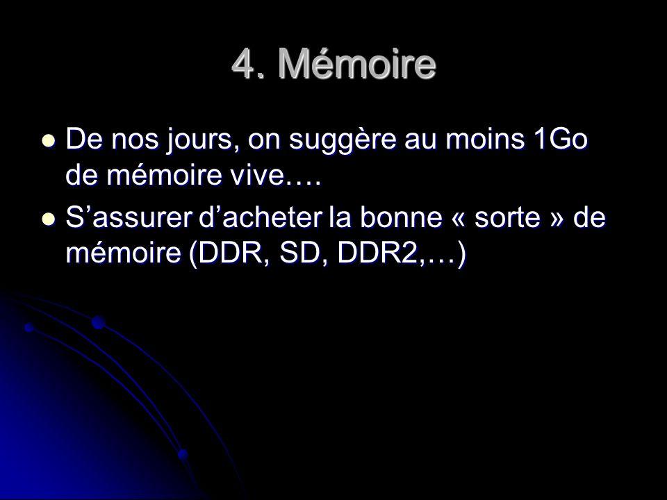 4. Mémoire De nos jours, on suggère au moins 1Go de mémoire vive….