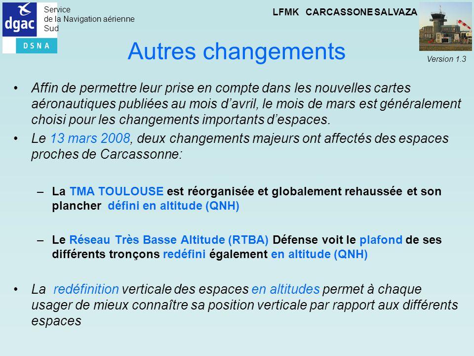 Service de la Navigation aérienne Sud LFMK CARCASSONE SALVAZA Version 1.3 Autres changements Affin de permettre leur prise en compte dans les nouvelle