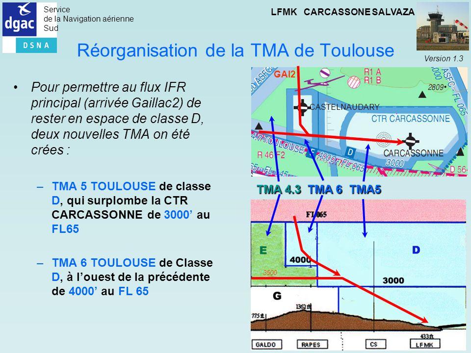 Service de la Navigation aérienne Sud LFMK CARCASSONE SALVAZA Version 1.3 Réorganisation de la TMA de Toulouse Pour permettre au flux IFR principal (a