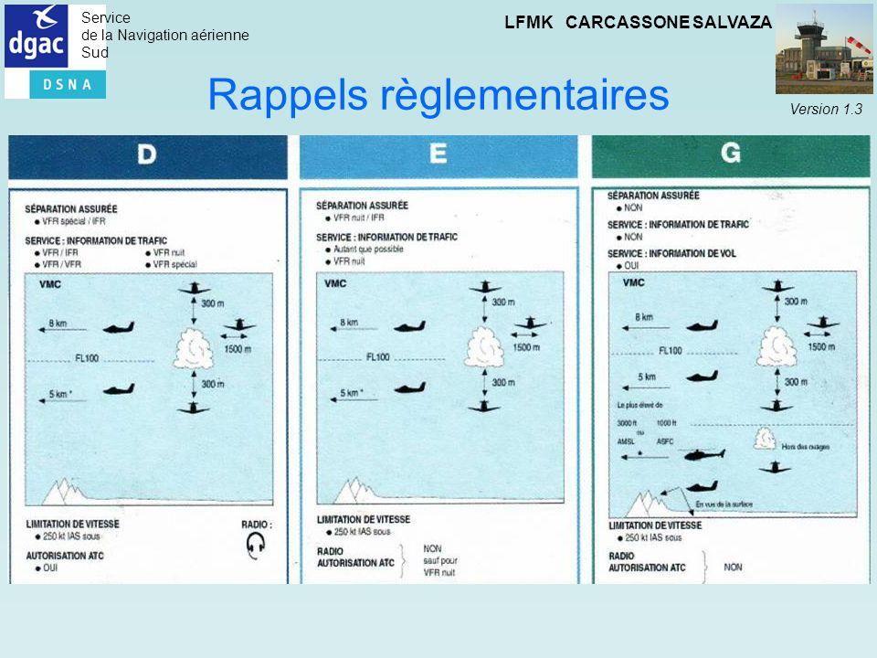 Service de la Navigation aérienne Sud LFMK CARCASSONE SALVAZA Version 1.3 Rappels règlementaires